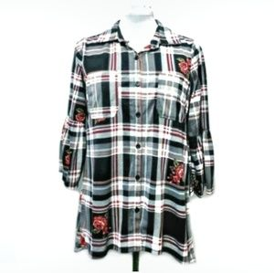 French Laundry Hi Lo Long Bell Sleeve Button Up